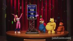 The Fattest Fat Loser, Mario, Garfield, Winnie the Pooh, Miss Piggy, Kermit the Frog, Barbie are all overweight cartoon characters battle against their weight.
