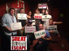 Darren Criss and friends at The Great Room Escape in San Diego
