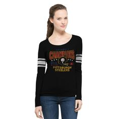 NFL Pittsburgh Steelers '47 Women's On the Fifty Super Bowl X Champion Scoop Neck Long Sleeve T-Shirt - Black