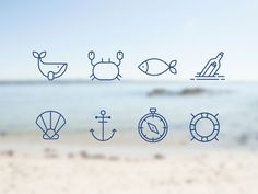 Sea icon set - OKGO