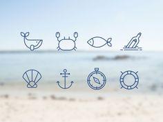 Sea icon set - OKGO