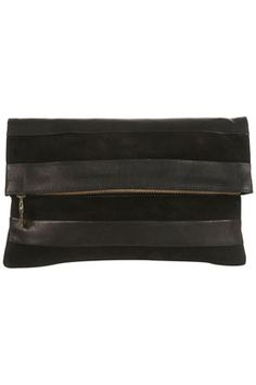 topshop black folded leather clutch with detachable strap