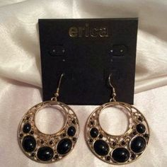 I just discovered this while shopping on Poshmark: Black and gold earrings. Check it out!  Size: OS