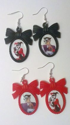 Harley Quinn and the Joker Cameo Earrings