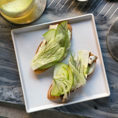 White Anchovy Toast with Pickled Fennel and Creme Fraiche