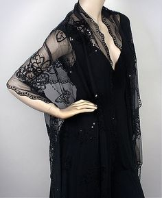 Black Fashion Evening Shawl Flower Embellished Sweetness the name says it all - customer favorite for your evening dresses.prod 3278