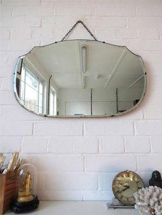 Vintage Bevelled Edge Wall Mirror Art Deco Frameless Wall Mirror Lovely Shape