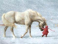 flicka med vit häst
