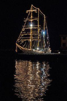 }{  Tall ship at night, Boston
