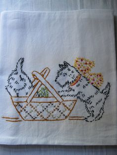 What are the Little Black Scotty Dogs Looking for in the Big Basket  Hand Embroidered Flour Sack Tea Towel