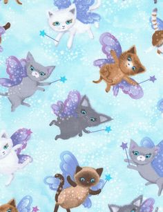 Fairy Cats Fabric Fat Quarter, Half Yard, or By-The-Yard; Timeless Treasures C5119; Cotton Fabric; Novelty Fabric; Cat Fabric