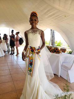 Satin Mermaid Wedding Dress, African Print Clothing, Zulu, Wedding Sets, Formal Dresses, Wedding Dresses, Beads, Outdoor, Clothes
