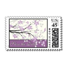 Magnolia branch with purple flowers wedding custom Save the Date stamp, featuring a beautiful magnolia branch with purple flowers and buds.