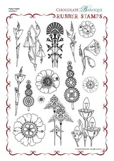 Punky Flowers Rubber stamp sheet - A4 - Chocolate Baroque
