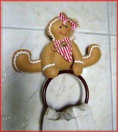 Artesanato Fofo: Suporte para pano de prato - Ginger biscuit