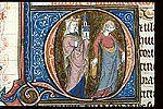 Synagogue and Ecclesia. Historiated initial 'Q'(uinta) of Synagogue and Ecclesia, at the beginning of Deuteronomy. Petrus Comestor,  Historia scholastica (The 'Ashridge Petrus Comestor'), England, 1283-1300. BL, Royal 3 D VI   f. 93.