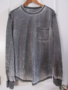 76f268e0 Men's Gray ON THE BYAS Crew Neck Thermal, Size Large #OntheByas #CrewNeck  Thermal