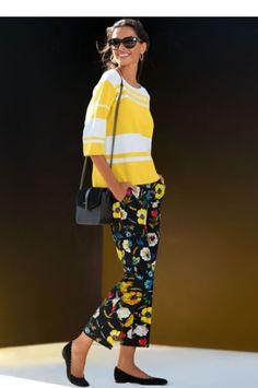 7 8-Hose mit Blumendruck, schwarz multicolor, blau, gelb, rot, schwarz 1dba079e66