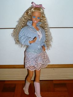 """""""Feeling Fun"""" Barbie.  Which do I love more, the denim or the crimped hair...I can't decide! Had!"""