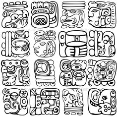 Buy Mayan Glyphs by on GraphicRiver. Vector set of Mayan and aztec glyphs with ancient gods and characters on white. Aztec Symbols, Viking Symbols, Egyptian Symbols, Ancient Symbols, Ancient Art, Viking Runes, Ancient Ruins, Mayan Tattoos, Inca Tattoo