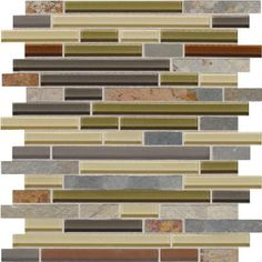 Daltile Slate Radiance Cactus 11-3/4 in. x 12-1/2 in. x 8 mm Glass and Stone Random Mosaic Blend Wall Tile-SA5758RANDMS1P at The Home Depot