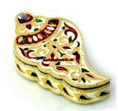 """Meenakari shank model dry fruit boxes.Size: 5"""".(Bulk orders only.Moq 25).Code: WH D 003.Price Rs 175 each.Best for return gifts."""
