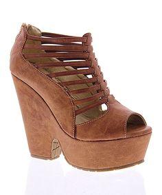Loving this Tan Lily Strappy Platform Sandal on #zulily! #zulilyfinds