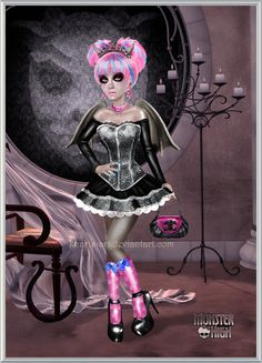 Monster High Prom - Rochelle by kharis-art.deviantart.com on @deviantART high heels glam shiny stockings makeup