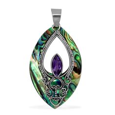 Liquidation Channel - Affordable Royal Bali Collection Abalone Shell (Mrq), Amethyst Pendant without Chain in Sterling Silver Nickel Free TGW 13.92 cts.