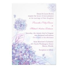 Hydrangea Wedding Invitations  Delicate and beautiful hydrangeas designed on custom Wedding Invitations. It's easy to edit the wordings, typefaces, colors, and sizes of all the text when you customize this invitation.