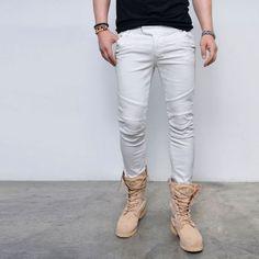 2f09b82fdff3 Baggy Waist Low Sit Slim Off White Biker-Jeans 301 via SNEAKERJEANS  STREETWEAR SHOP. TIMBUKTU · Pants