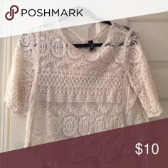 Crochet crop top Sheer crochet ivory crop top. Great condition, would look super cute with a bralette underneath WINDSOR Tops Crop Tops