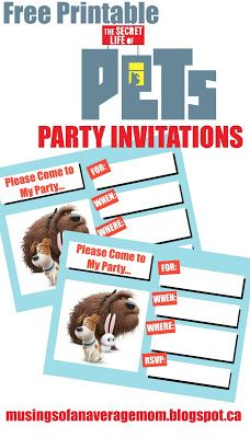 Free Printable Secret Life of Pets party Invitations