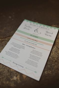 Stationery Order Service Mint Gold Peach Summer Marquee Wedding http://elizaclaire.com