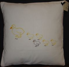 Strolling ducks homemade embroidery cushion by LMDSimplyBe on Etsy, £23.50