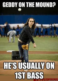 I was watching this game! I usually watch every Tribe game, but this one was special! Geddy Lee throwing out the 1st Pitch for Toronto's Home Opener when the Blue Jay's played the Tribe. He was sitting in the first row the whole game, so I kept seeing him with every shot of home plate. 4/2/13.