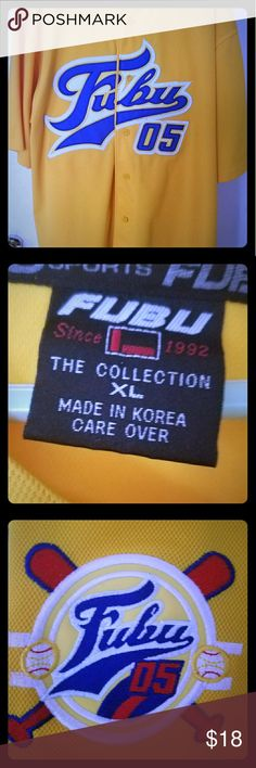 Men s FUBU Jersey Gold and blue men s XL jersey. FUBU is an urban wear  clothing a6d0aad3ef1f