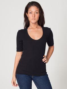 Baby Rib 1/2 Sleeve U-Neck T   Scoop Necks   Women's T-Shirts   American Apparel