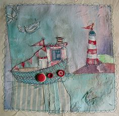textile art, Lighthouse and Boat – Handwerk und Basteln Freehand Machine Embroidery, Free Motion Embroidery, Free Machine Embroidery, Embroidery Applique, Embroidery Stitches, Fabric Art, Fabric Crafts, Sewing Crafts, Sewing Projects