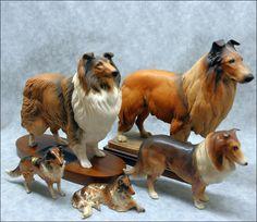Collie and sheltie dog figurines. Anri , Hagen renaker,