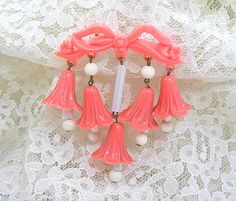 Coral Bell Flowers Brooch Dangling Flowers by AtticDustAntiques