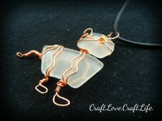 Unique Seaglass Wire Wrapped Kitty Cat    In Stock - $16.50