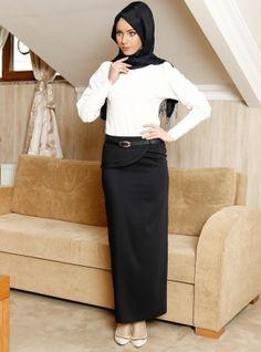 The Waist Skirt, Coat Detailed - Navy Blue - Zernisan