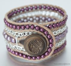 Plum and Radiant Orchid Wrap Bracelet with Tutorial