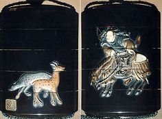 Case (Inrô) with Design of Hunter Dismounting Horse (obverse); Two Spotted Deer (reverse)  Period: Edo period (1615–1868) Date: 18th–19th century Culture: Japan Medium: Lacquer, roiro, coloured ceramic and metal inlay; Interior: gyobu nashiji and fundame