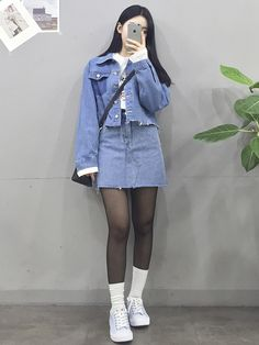 Korean fashion | denim Style skirt outfits like you would be comfortable wearing wearing it skirt lenght wise