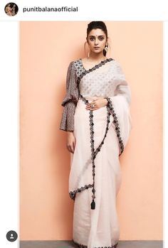 Pick a saree of black & white to flaunt any occasion, it can be of stripes, or with a unique pattern. The styling speaks louder about the complete look. Designer Salwar Kameez, Blouse Patterns, Saree Blouse Designs, Indian Dresses, Indian Outfits, Saris Indios, Black And White Saree, Outfits, Woman Clothing