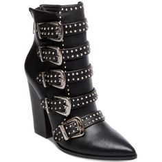Steve Madden Comet Studded Western Booties ($189) ❤ liked on Polyvore featuring shoes, boots, ankle booties, black leather, black boots, black cowgirl boots, black pointed toe booties, black leather booties and black buckle boots