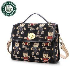 DAKA BEAR girls new retro black messenger bag