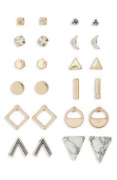 Main Image - BP. Geometric Stud Earrings (Set of 12)